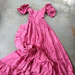 Vintage pink ruffled gown